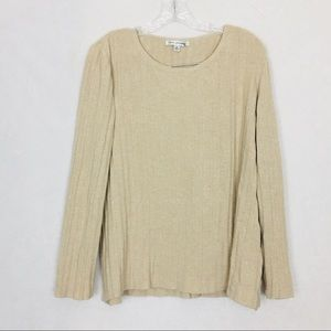 St John Ribbed Knit Long Sleeve Sweater Top Size S